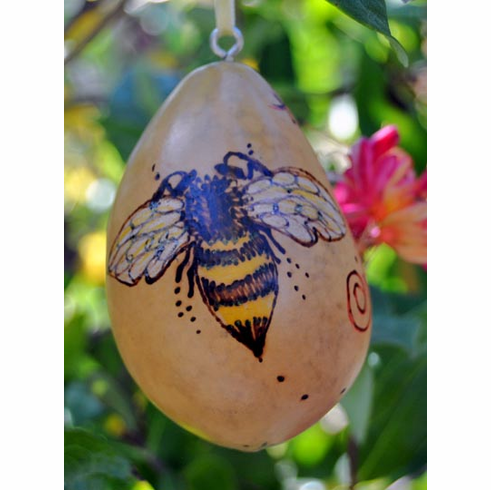 Honey Bee Gourd Ornament