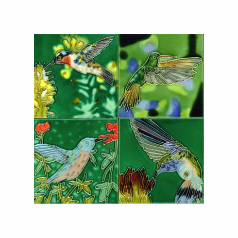 Hummingbird Tile Coasters, Set of 4