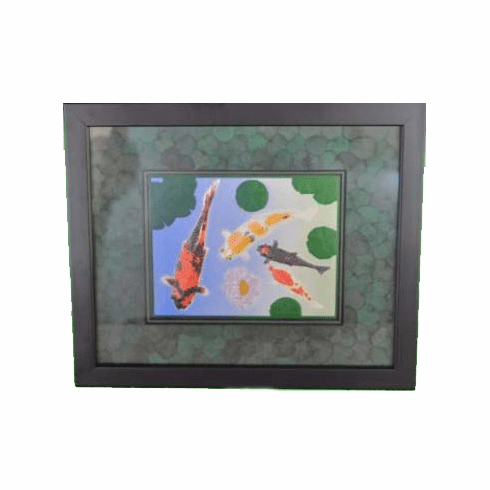 'Koi Pond' with Eucalyptus Mat Framed