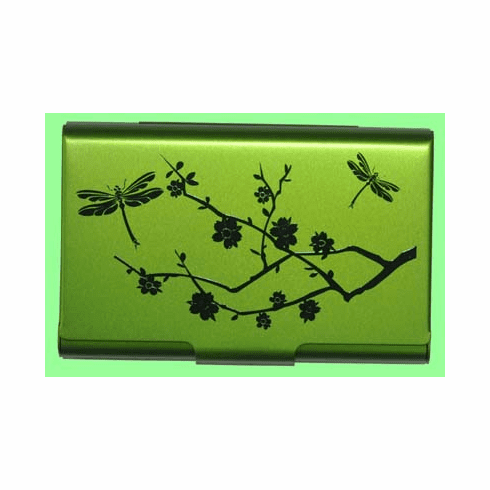 Lime Dragonfly Card Case
