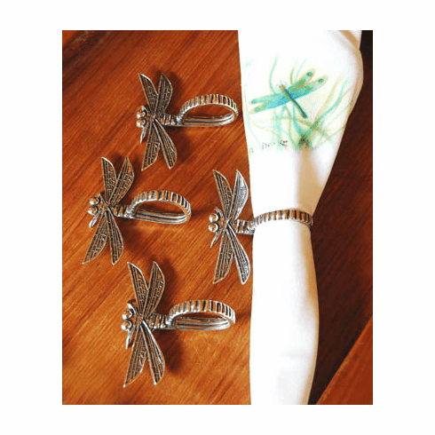 Pewter Dragonfly Napkin Rings, Set of 4