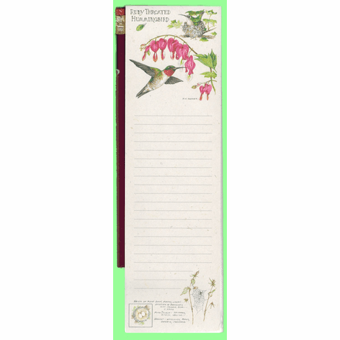 Ruby Throated Hummingbird Pencil Pad