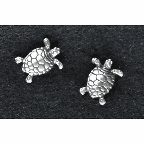 Sea Turtle Pewter Post Earrings