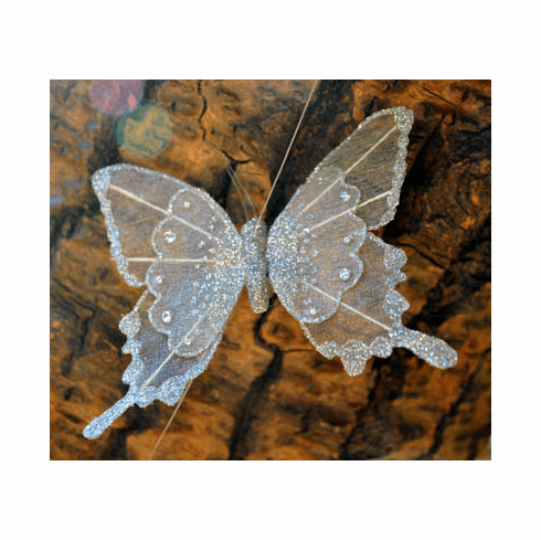 Silver Sparkle Butterfly Garland