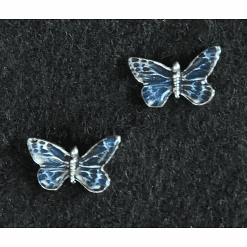 Tiny Blue Butterfly Pewter Post Earrings