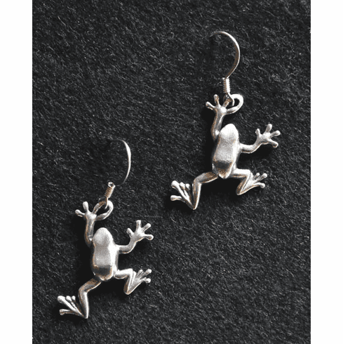 Tree Frog Pewter Earrings