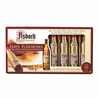 Asbach Dark Chocolate Zarte Fläschchen, 8 Brandy-filled Pralines, 100g/3.5oz