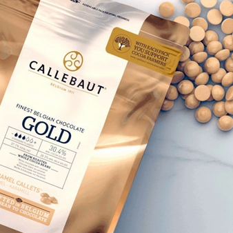 Callebaut Gold Caramel Callets 30.4% Cocoa 2-lb Bag (Repackaged)