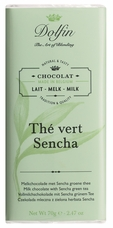 "Dolfin Belgian Chocolate - ""Th� vert sencha"" Milk Chocolate Bar with Sencha Green Tea, 70g/2.47oz."