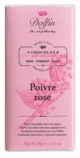 "Dolfin Belgian Chocolate - ""Poivre rose"" Dark Chocolate Bar with Pink Peppercorn, 70g/2.47oz."