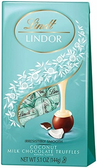 "Lindt Swiss Chocolate - Lindor Truffles ""Coconut Milk Chocolate with a Smooth Filling!"", 12 Piece Bag, 144g/5.1oz. (6 Pack)"