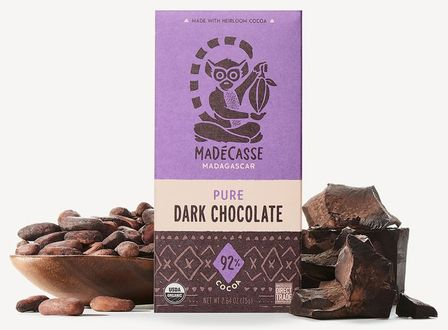 Madecasse Chocolate - Madagascar Organic Dark Chocolate, 92% Cocoa, 75g/2.64oz. (Single)