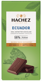 Hachez Ecuador 58% Dark Chocolate Bar (10 Pack)