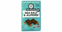 Taza Sea Salt & Almond 80% Stone Ground Dark Chocolate Bar, Organic, 70g/2.5oz (Pack of 5)