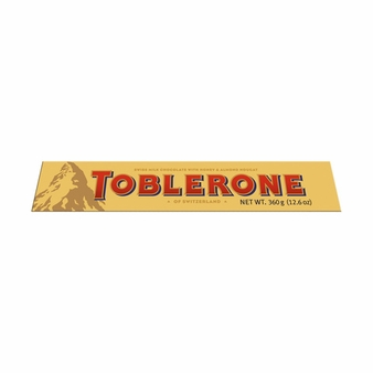 Toblerone Milk Chocolate with Honey and Almond Nougat, 12.6oz/360g (Single)