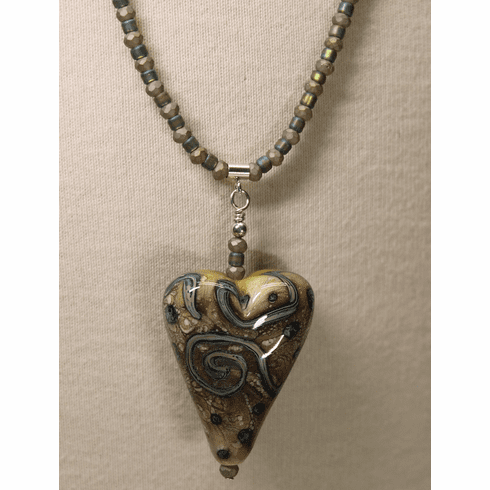 Dark Ivory Heart with Stripe Design