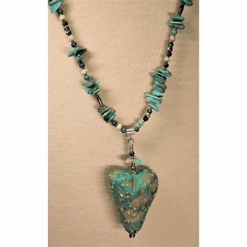 Glass Turquoise Heart - SOLD!