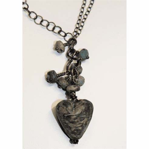 Stone-look Glass Heart Necklace