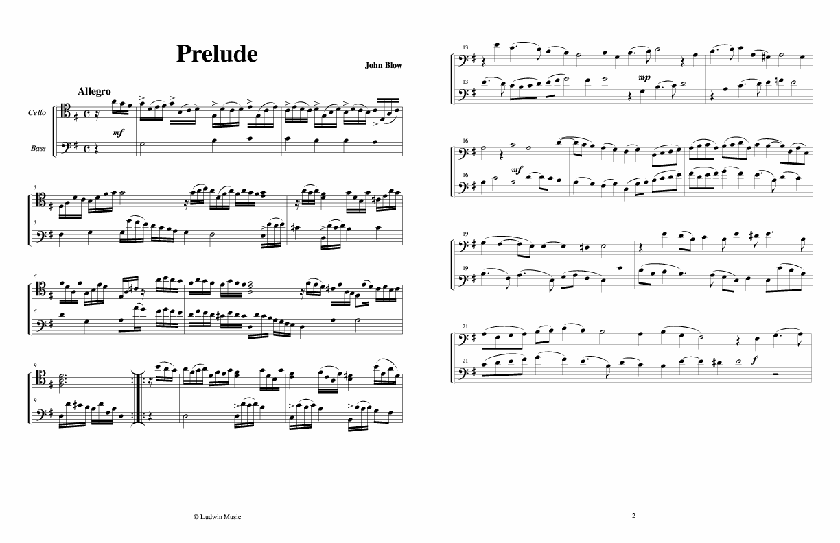 Baroque duets for Bass and Cello