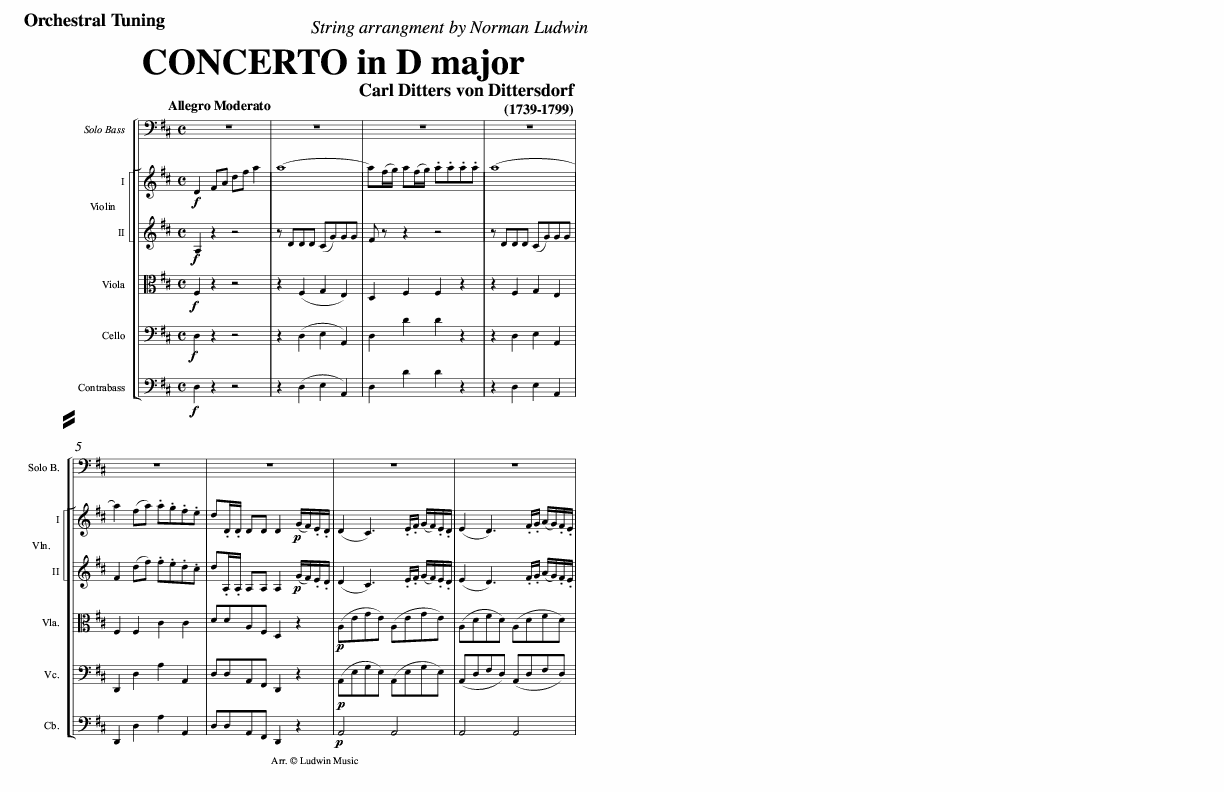 DITTERSDORF -Concerto (string orchestra accompaniment)
