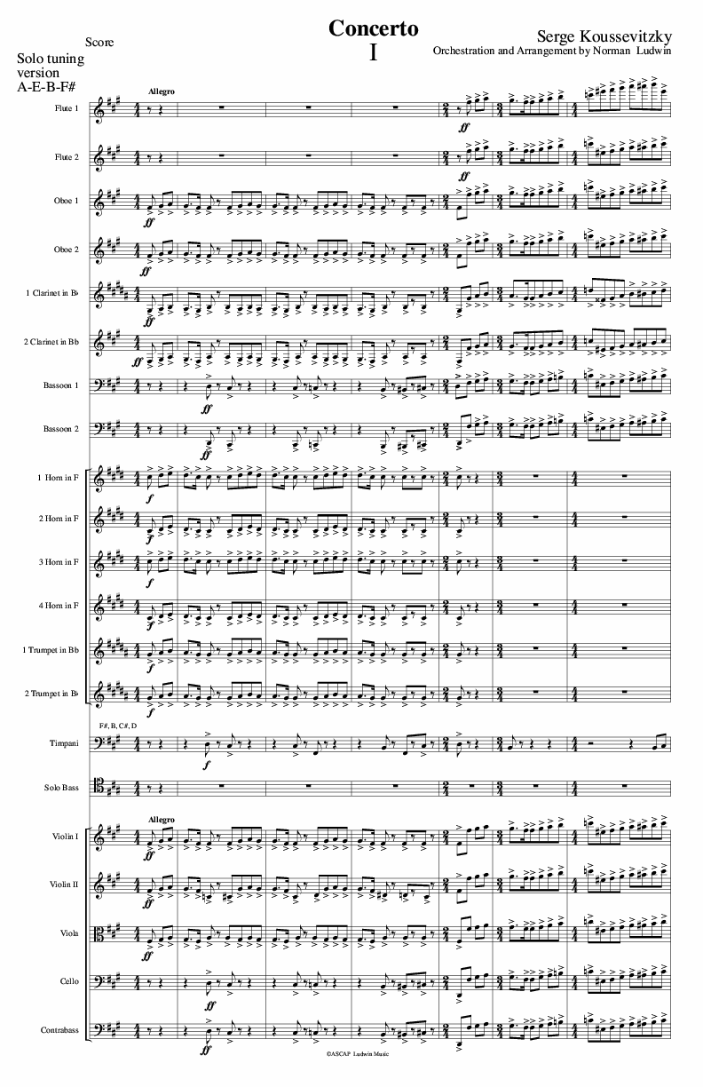 KOUSSEVITZKY Concerto Op. 3 (Full Orchestra)