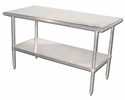 Stainless Steel Work Tables---  PRICES SUBJECT TO CHANGE WITH RISING STAINLESS STEEL PRICES! FREE SHIPPING DOES NOT APPLY.