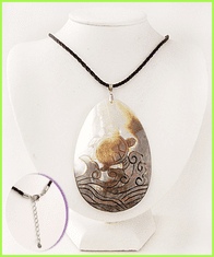 Carved Sea Turtle Shell Necklace