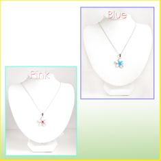 Crystal CZ Glass Plumeria Necklace