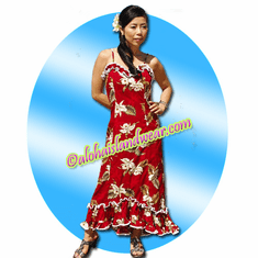 Hawaiian Spaghetti Dress - 413Red