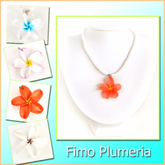 Genuine Puka Shell W/Fimo Plumeria Necklace