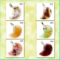 Half-Moon Shaped Agate Stone Pendants