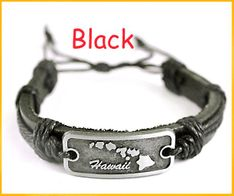 Hawaii Genuine Leather Bracelet - Black
