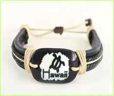 Hawaii Honu Genuine Leather Bracelet - Black