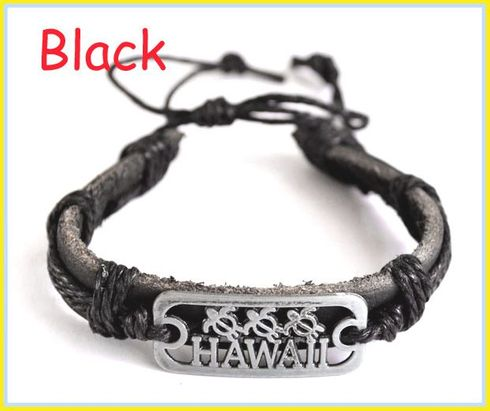 Hawaii Sea Turtles Genuine Leather Bracelet - Black