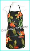 Hawaiian Print Apron - 103Black