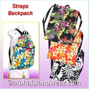 Hawaiian Print Strap Backpacks