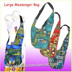 Large Hawaiian Print Messenger Bag
