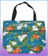 Large Hawaiian Print Tote Bag w/Top Zipper - 112Teal