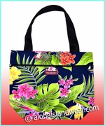 Medium Reversible Hawaiian print Tote Bag -124Navy