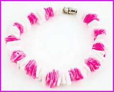 Pink & White Chips Genuine Puka Shell Bracelet