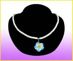 Plumeria Fimo Flower w/Puka Shell Necklace - Blue