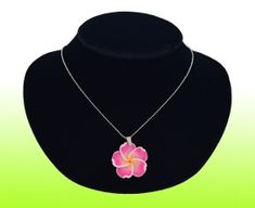 Plumeria Fimo Flower w/Silver Plated Chain Necklace