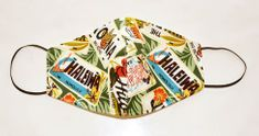 Reversible Hawaiian print cloth face mask - Green