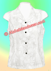 White Hawaiian Sleeveless Blouse