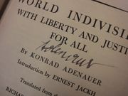 Adenauer, Konrad World Indivisible With Liberty And Justice For All 1955 Book Signed Autograph First Edition