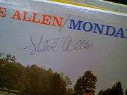 Allen, Steve LP Signed Autograph Monday Nights