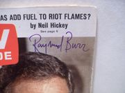 Burr, Raymond TV Guide Signed Autograph Ironside Sept 16 1967