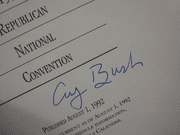 Bush, George H President 1992 Press Guide Signed Autograph Republican National Convention