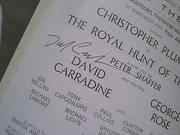 Carradine, David  1965 Playbill The Royal Hunt Of The Sun Signed Autograph