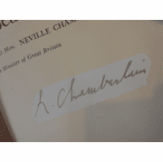 """Chamberlain, Neville Prime Minister """"In Search Of Peace"""" 1939 Book Signed Autograph Photo"""